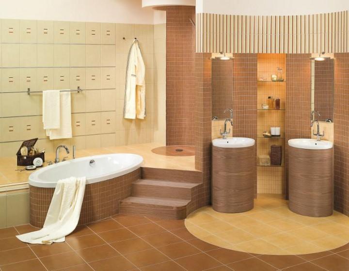 Brązowa łazienka Galeria Projektowanie Wnętrz Wnętrza
